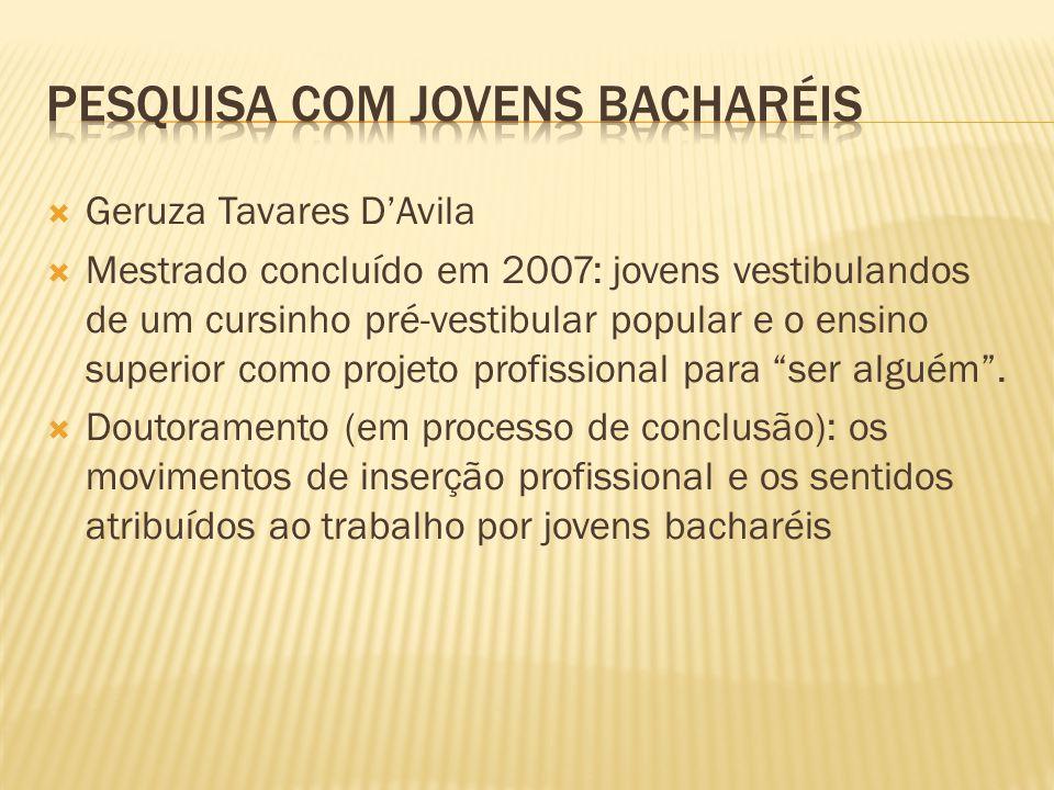  Geruza Tavares D'Avila  Mestrado concluído em 2007: jovens vestibulandos de um cursinho pré-vestibular popular e o ensino superior como projeto pro