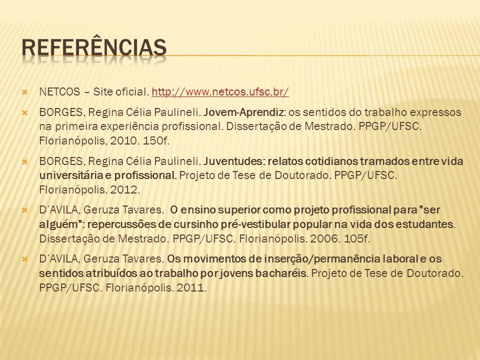  NETCOS – Site oficial. http://www.netcos.ufsc.br/http://www.netcos.ufsc.br/  BORGES, Regina Célia Paulineli. Jovem-Aprendiz: os sentidos do trabalh