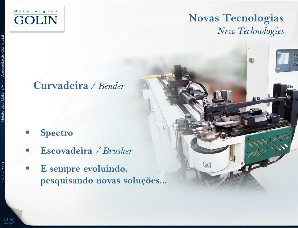 rev.01 / 2011  Spectro  Escovadeira / Brusher  E sempre evoluindo, pesquisando novas soluções... Novas Tecnologias New Technologies Curvadeira / Be