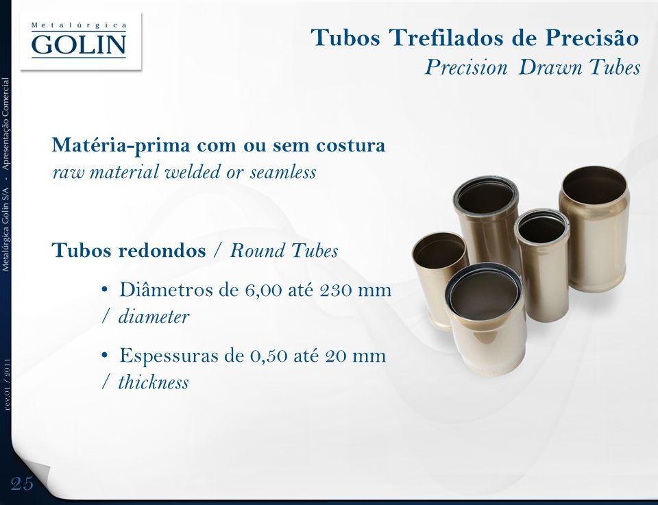 rev.01 / 2011 Tubos Trefilados de Precisão Precision Drawn Tubes Matéria-prima com ou sem costura raw material welded or seamless Tubos redondos / Rou