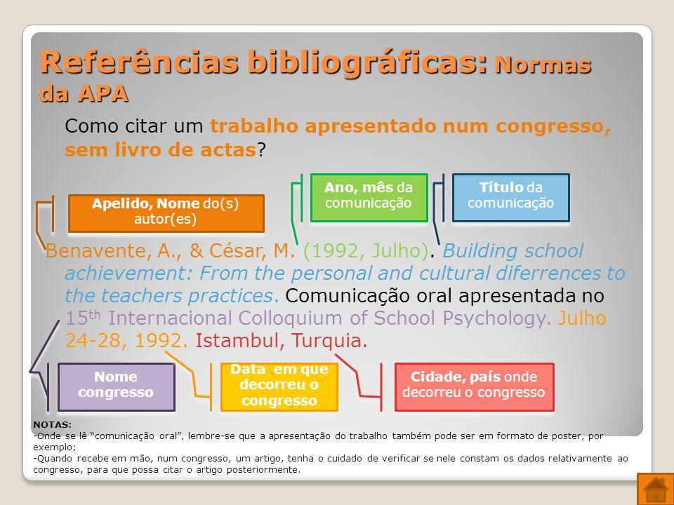 Referências bibliográficas: Normas da APA Como citar um trabalho apresentado num congresso, sem livro de actas.
