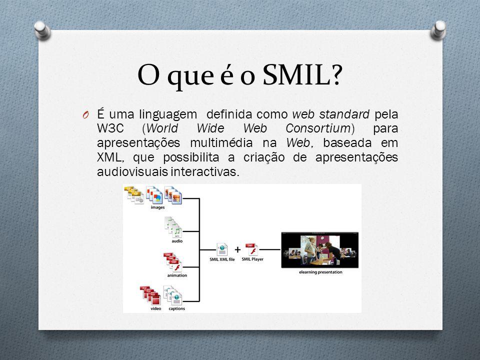 O que é o SMIL? O É uma linguagem definida como web standard pela W3C (World Wide Web Consortium) para apresentações multimédia na Web, baseada em XML