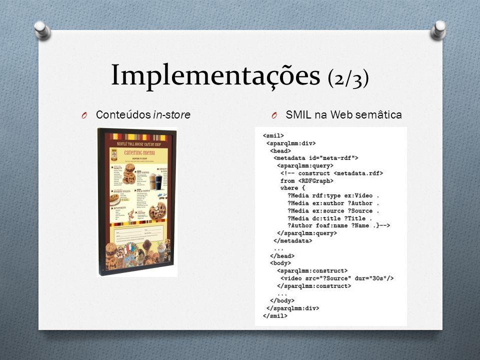 Implementações (2/3) O Conteúdos in-store O SMIL na Web semâtica