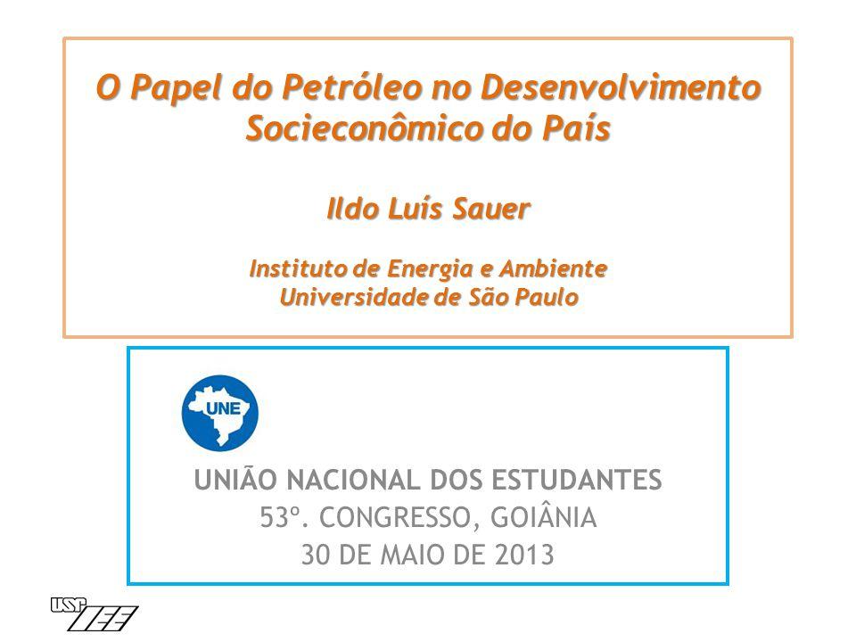 O Papel do Petróleo no Desenvolvimento Socieconômico do País Ildo Luís Sauer Instituto de Energia e Ambiente Universidade de São Paulo UNIÃO NACIONAL DOS ESTUDANTES 53º.
