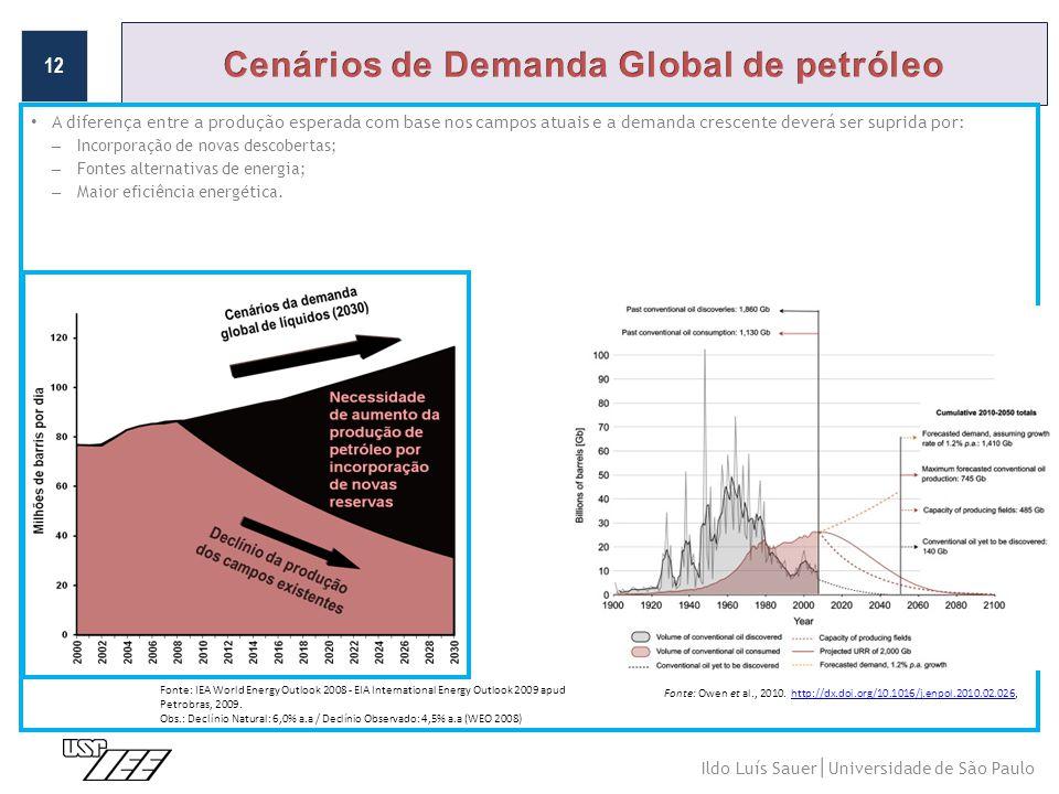 • A diferença entre a produção esperada com base nos campos atuais e a demanda crescente deverá ser suprida por: – Incorporação de novas descobertas; – Fontes alternativas de energia; – Maior eficiência energética.