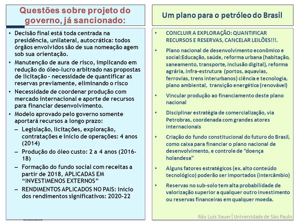 25 • CONCLUIR A EXPLORAÇÃO: QUANTIFICAR RECURSOS E RESERVAS, CANCELAR LEILÕES!!!. • Plano nacional de desenvolvimento econômico e social:Educação, saú