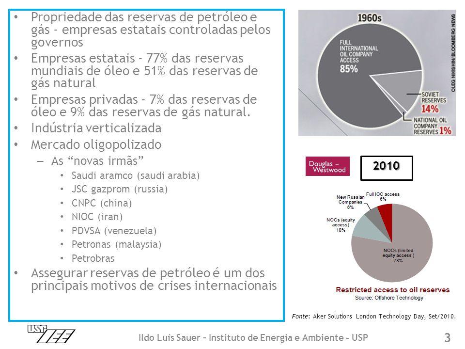 • Propriedade das reservas de petróleo e gás - empresas estatais controladas pelos governos • Empresas estatais - 77% das reservas mundiais de óleo e 51% das reservas de gás natural • Empresas privadas - 7% das reservas de óleo e 9% das reservas de gás natural.