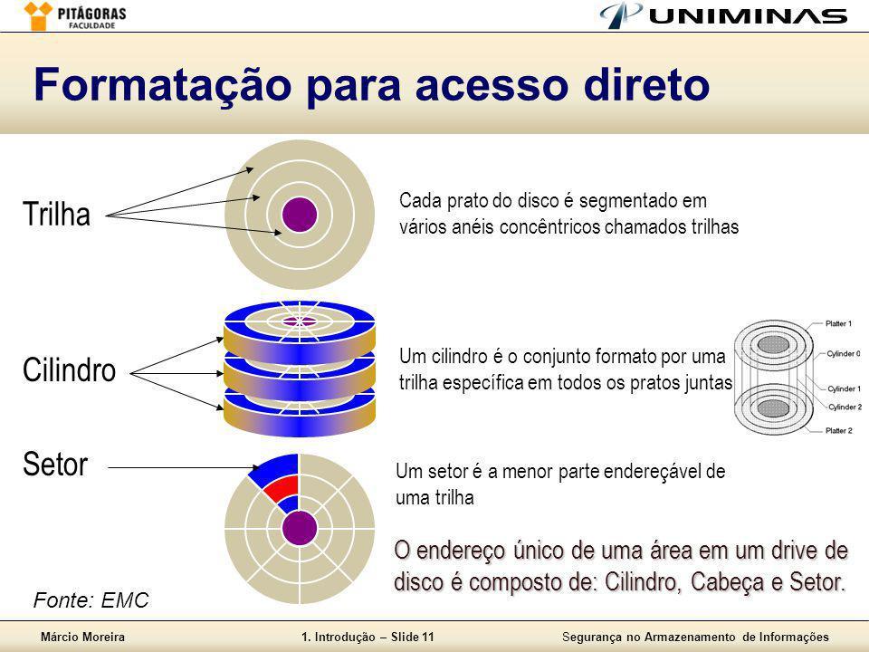 Márcio Moreira1. Introdução – Slide 11Segurança no Armazenamento de Informações Formatação para acesso direto Trilha Cada prato do disco é segmentado