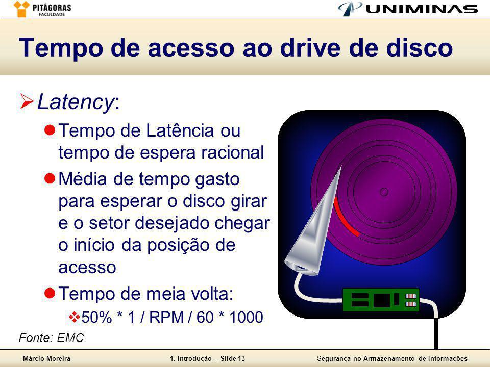 Márcio Moreira1. Introdução – Slide 13Segurança no Armazenamento de Informações Tempo de acesso ao drive de disco  Latency:  Tempo de Latência ou te