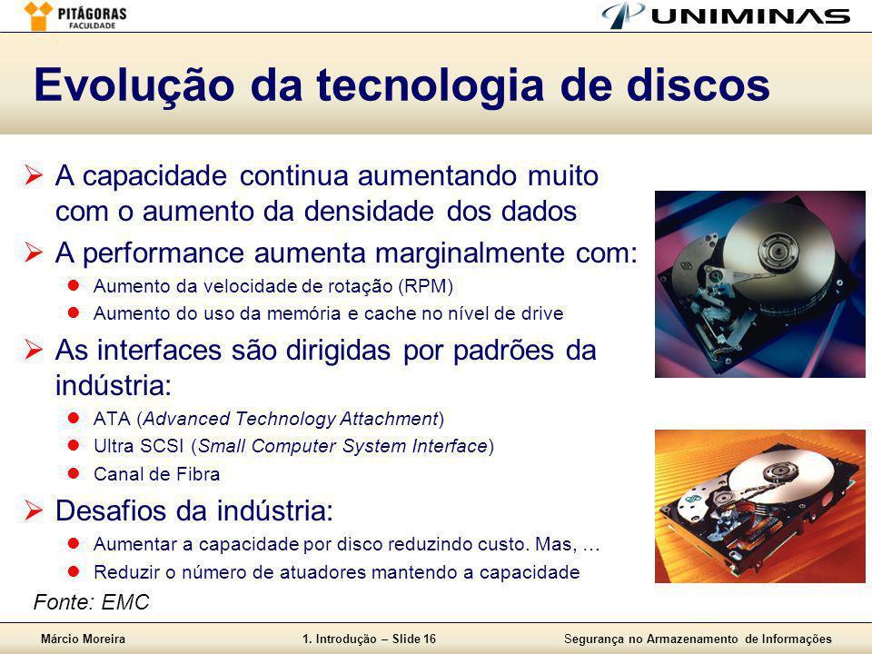 Márcio Moreira1. Introdução – Slide 16Segurança no Armazenamento de Informações Evolução da tecnologia de discos  A capacidade continua aumentando mu