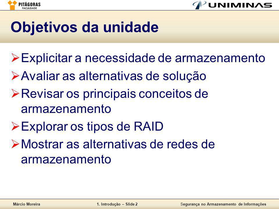 Márcio Moreira1. Introdução – Slide 2Segurança no Armazenamento de Informações Objetivos da unidade  Explicitar a necessidade de armazenamento  Aval