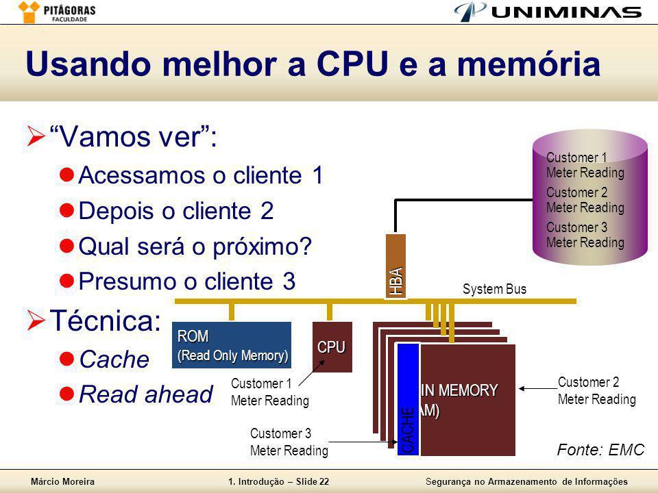 Márcio Moreira1. Introdução – Slide 22Segurança no Armazenamento de Informações Usando melhor a CPU e a memória System Bus CPU MAIN MEMORY (RAM) ROM (