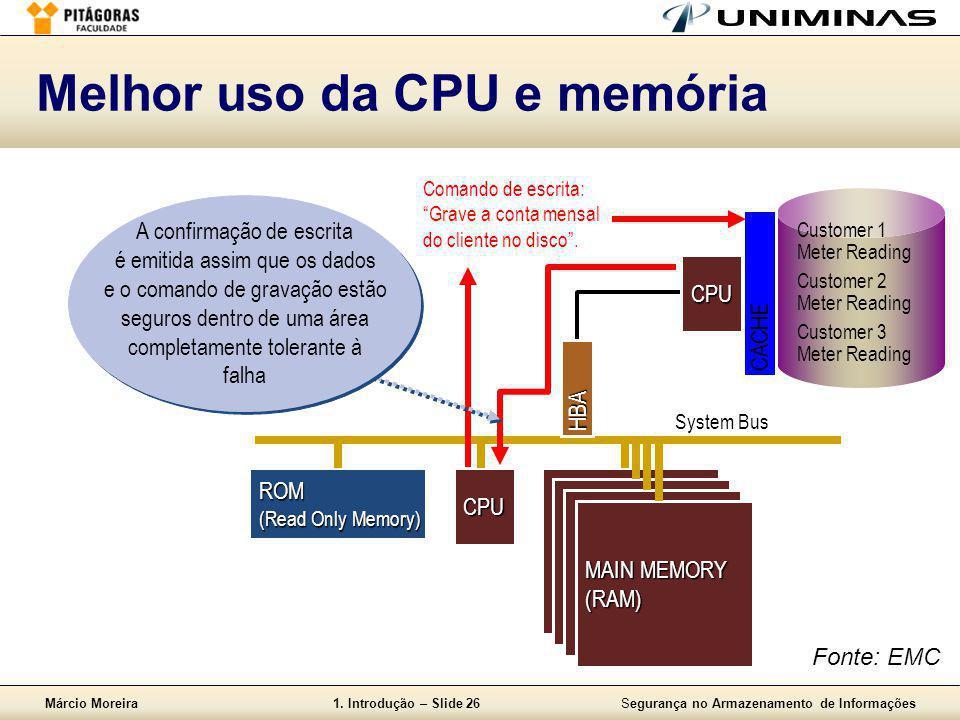 Márcio Moreira1. Introdução – Slide 26Segurança no Armazenamento de Informações Melhor uso da CPU e memória System Bus CPU MAIN MEMORY (RAM) ROM (Read