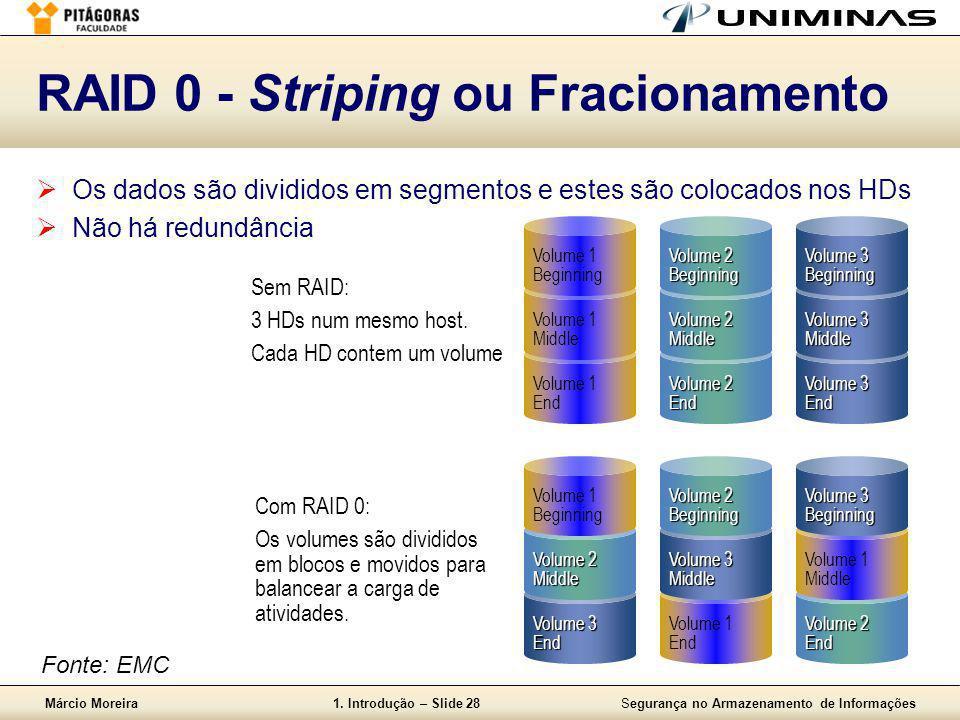 Márcio Moreira1. Introdução – Slide 28Segurança no Armazenamento de Informações RAID 0 - Striping ou Fracionamento  Os dados são divididos em segment