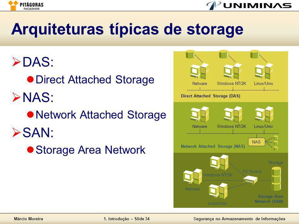 Márcio Moreira1. Introdução – Slide 34Segurança no Armazenamento de Informações Arquiteturas típicas de storage  DAS:  Direct Attached Storage  NAS