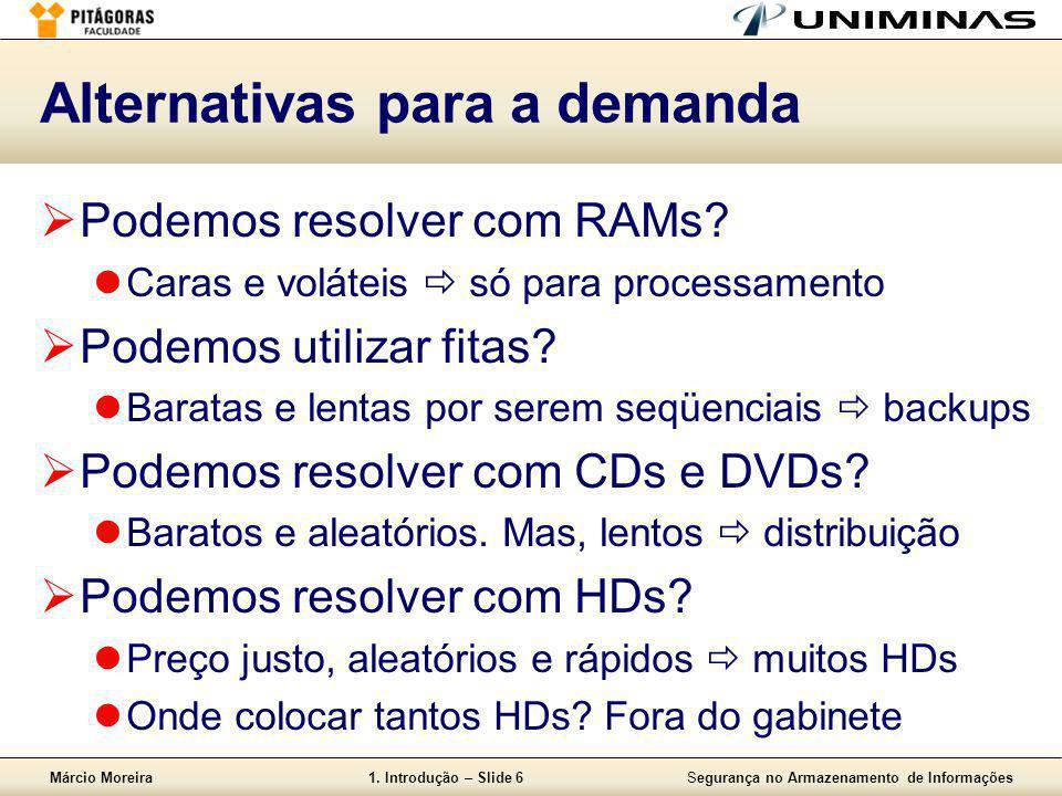 Márcio Moreira1. Introdução – Slide 6Segurança no Armazenamento de Informações Alternativas para a demanda  Podemos resolver com RAMs?  Caras e volá