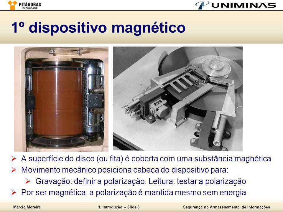 Márcio Moreira1. Introdução – Slide 8Segurança no Armazenamento de Informações 1º dispositivo magnético  A superfície do disco (ou fita) é coberta co