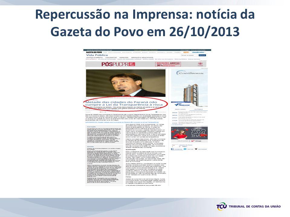 Repercussão na Imprensa: notícia da Gazeta do Povo em 26/10/2013