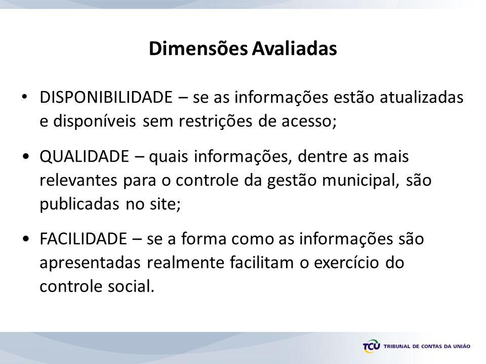 • DISPONIBILIDADE – se as informações estão atualizadas e disponíveis sem restrições de acesso; •QUALIDADE – quais informações, dentre as mais relevan