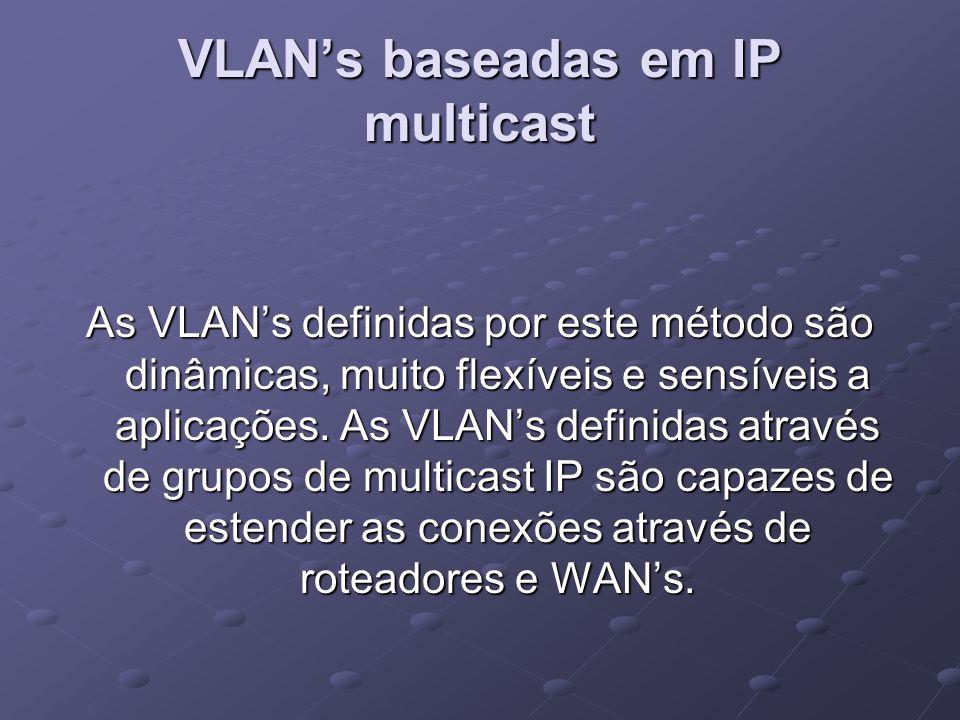 VLAN's baseadas em IP multicast As VLAN's definidas por este método são dinâmicas, muito flexíveis e sensíveis a aplicações. As VLAN's definidas atrav
