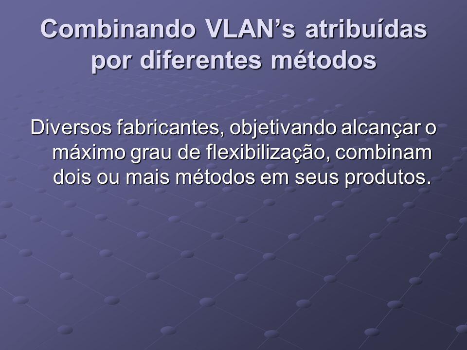 Combinando VLAN's atribuídas por diferentes métodos Diversos fabricantes, objetivando alcançar o máximo grau de flexibilização, combinam dois ou mais