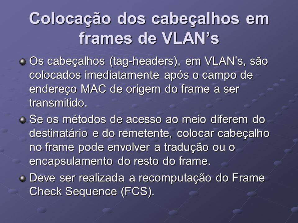 Colocação dos cabeçalhos em frames de VLAN's Os cabeçalhos (tag-headers), em VLAN's, são colocados imediatamente após o campo de endereço MAC de orige