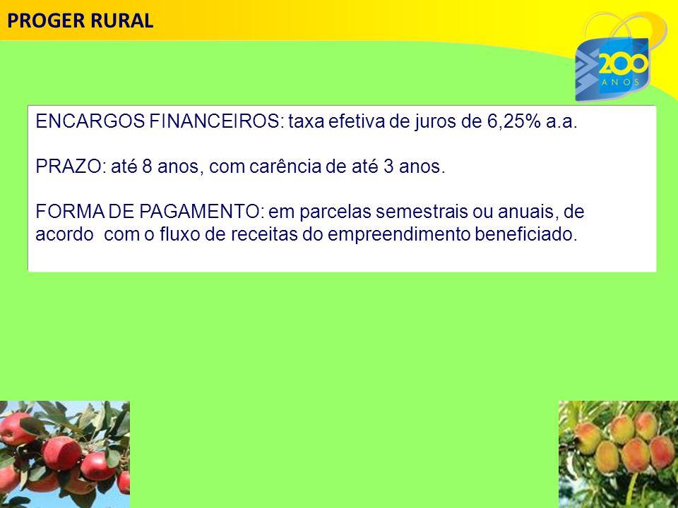 ENCARGOS FINANCEIROS: taxa efetiva de juros de 6,25% a.a.