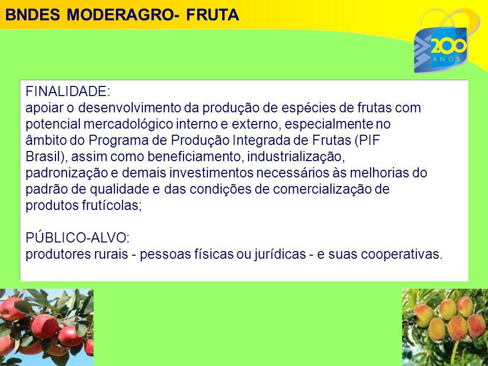 FINALIDADE: apoiar o desenvolvimento da produ ç ão de esp é cies de frutas com potencial mercadol ó gico interno e externo, especialmente no âmbito do Programa de Produ ç ão Integrada de Frutas (PIF Brasil), assim como beneficiamento, industrializa ç ão, padroniza ç ão e demais investimentos necess á rios à s melhorias do padrão de qualidade e das condi ç ões de comercializa ç ão de produtos frut í colas; P Ú BLICO-ALVO: produtores rurais - pessoas f í sicas ou jur í dicas - e suas cooperativas.