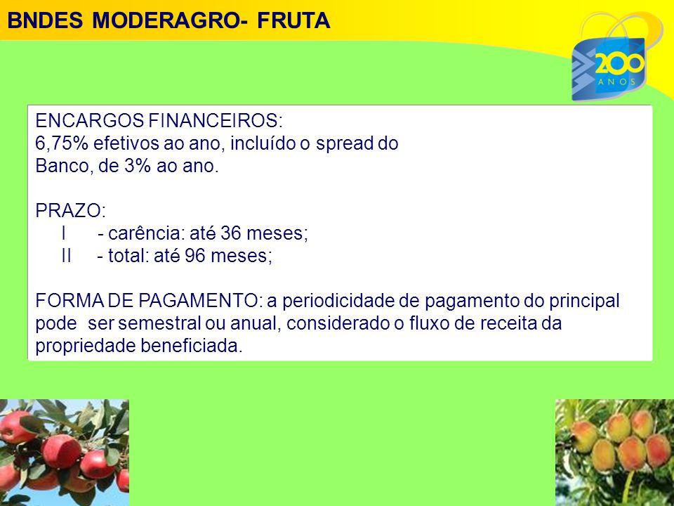 ENCARGOS FINANCEIROS: 6,75% efetivos ao ano, inclu í do o spread do Banco, de 3% ao ano.
