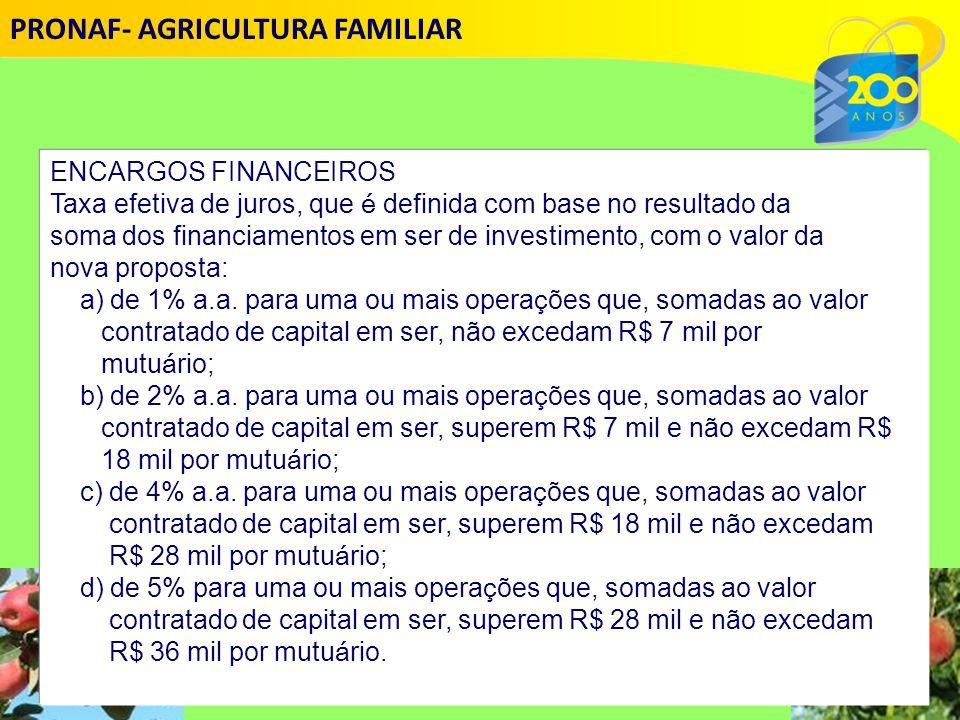 ENCARGOS FINANCEIROS Taxa efetiva de juros, que é definida com base no resultado da soma dos financiamentos em ser de investimento, com o valor da nova proposta: a) de 1% a.a.