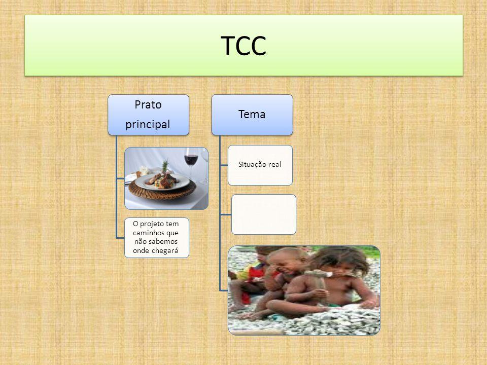 TCC Prato principal O projeto tem caminhos que não sabemos onde chegará Tema Situação real