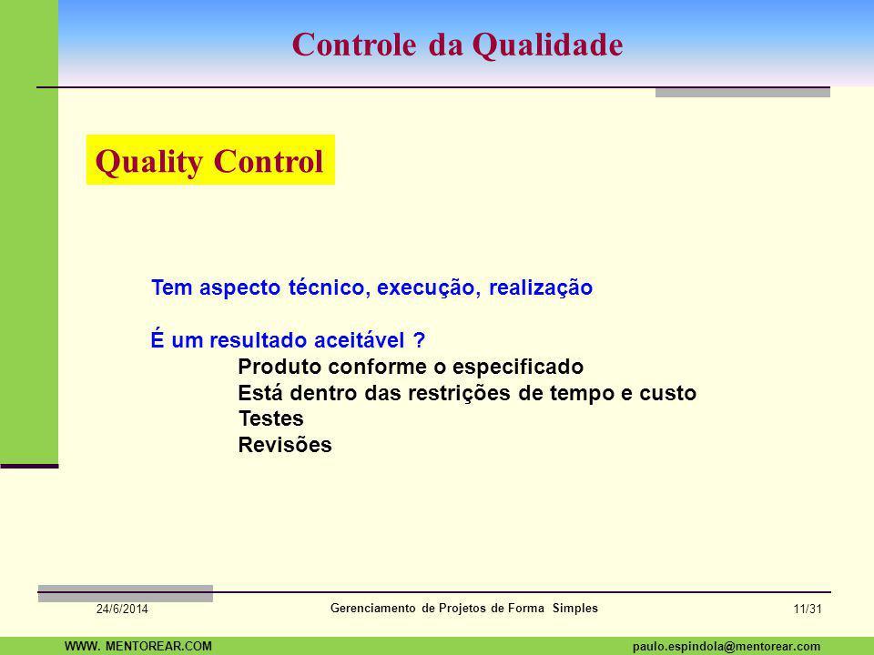 SAP Paulo Espindola 19 11 1960 paulo.espindola@mentorear.comWWW. MENTOREAR.COM Gerenciamento de Projetos de Forma Simples 24/6/2014 10/31 Garantia da