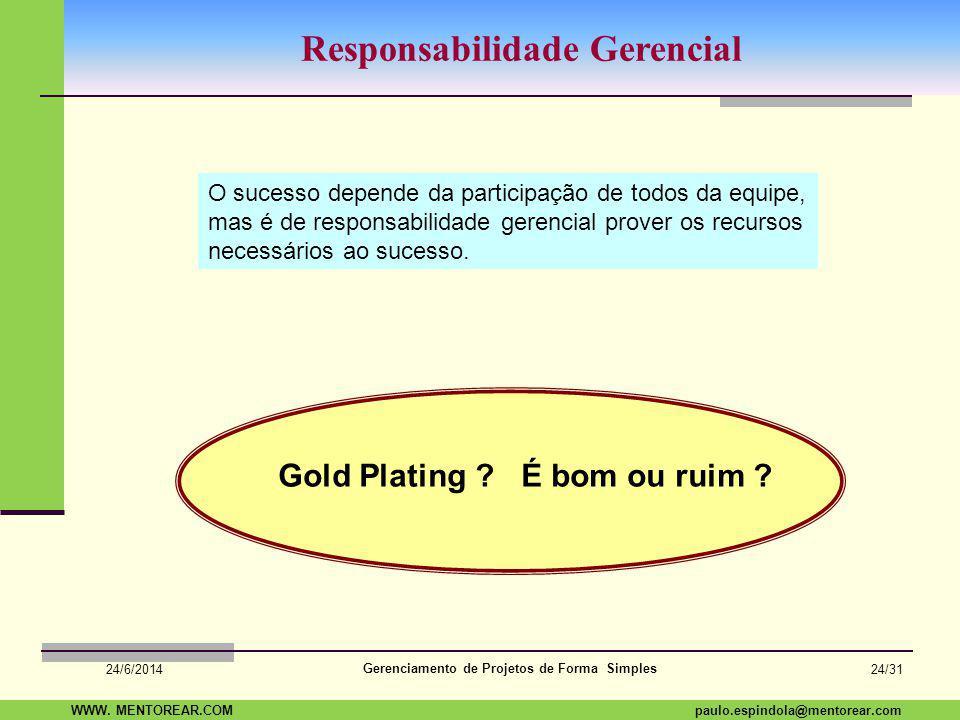 SAP Paulo Espindola 19 11 1960 paulo.espindola@mentorear.comWWW. MENTOREAR.COM Gerenciamento de Projetos de Forma Simples 24/6/2014 23/31 Custo da Qua