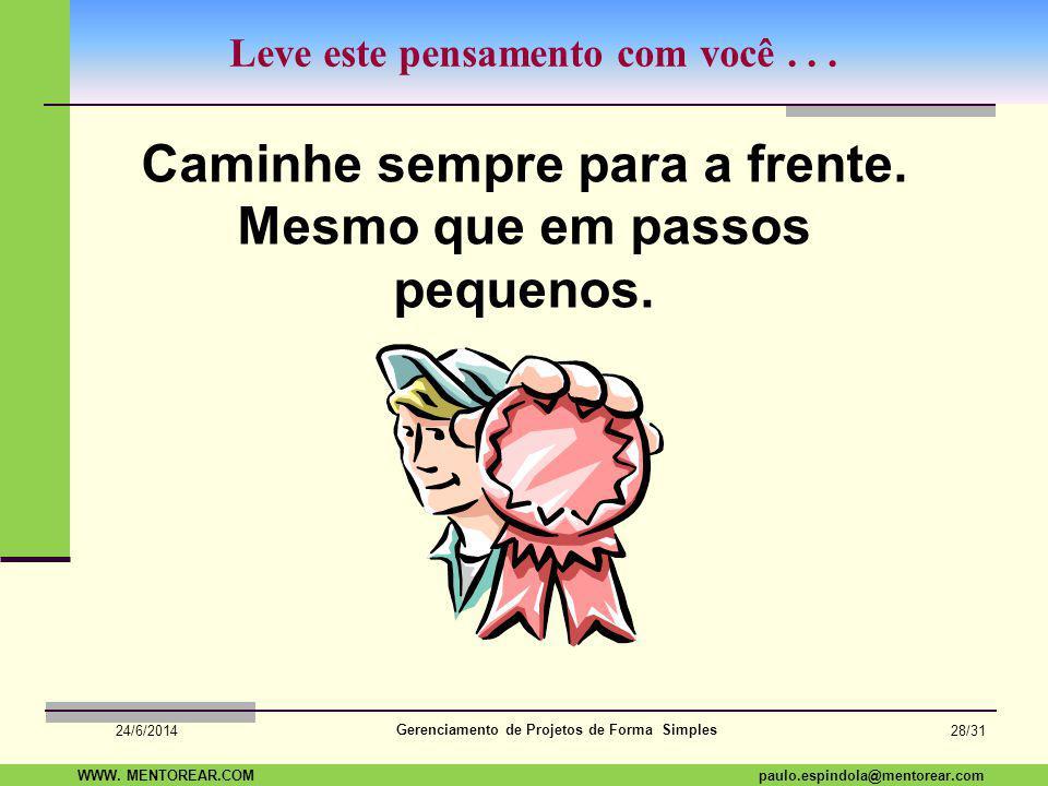 SAP Paulo Espindola 19 11 1960 paulo.espindola@mentorear.comWWW. MENTOREAR.COM Gerenciamento de Projetos de Forma Simples 24/6/2014 27/31 Dúvidas