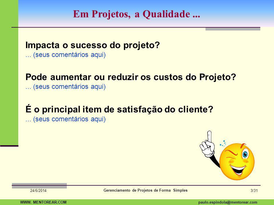 SAP Paulo Espindola 19 11 1960 paulo.espindola@mentorear.comWWW. MENTOREAR.COM Gerenciamento de Projetos de Forma Simples 24/6/2014 2/31 Leve este pen