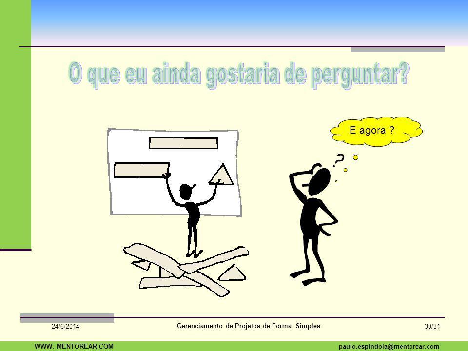 SAP Paulo Espindola 19 11 1960 paulo.espindola@mentorear.comWWW. MENTOREAR.COM Gerenciamento de Projetos de Forma Simples 24/6/2014 29/31