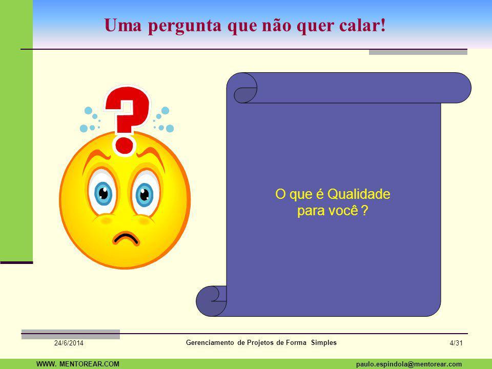 SAP Paulo Espindola 19 11 1960 paulo.espindola@mentorear.comWWW. MENTOREAR.COM Gerenciamento de Projetos de Forma Simples 24/6/2014 3/31 Em Projetos,
