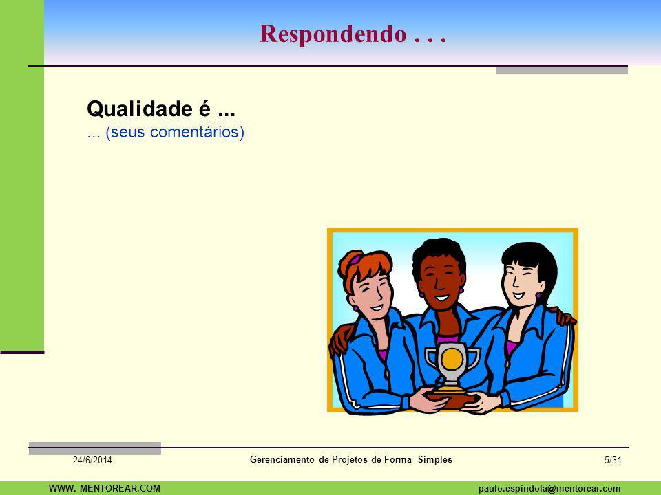 SAP Paulo Espindola 19 11 1960 paulo.espindola@mentorear.comWWW. MENTOREAR.COM Gerenciamento de Projetos de Forma Simples 24/6/2014 4/31 Uma pergunta