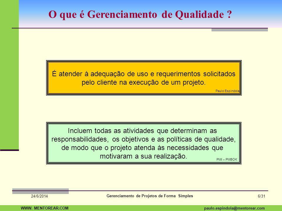 SAP Paulo Espindola 19 11 1960 paulo.espindola@mentorear.comWWW. MENTOREAR.COM Gerenciamento de Projetos de Forma Simples 24/6/2014 5/31 Respondendo..