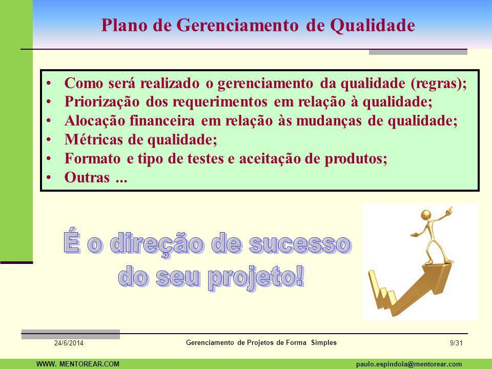 SAP Paulo Espindola 19 11 1960 paulo.espindola@mentorear.comWWW. MENTOREAR.COM Gerenciamento de Projetos de Forma Simples 24/6/2014 8/31 Qualidade com