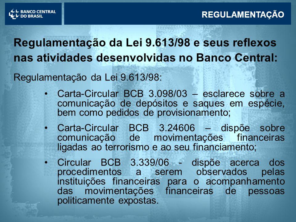 Lavagem de dinheiro Regulamentação da Lei 9.613/98 e seus reflexos nas atividades desenvolvidas no Banco Central: Regulamentação da Lei 9.613/98: •Carta-Circular BCB 3.098/03 – esclarece sobre a comunicação de depósitos e saques em espécie, bem como pedidos de provisionamento; •Carta-Circular BCB 3.24606 – dispõe sobre comunicação de movimentações financeiras ligadas ao terrorismo e ao seu financiamento; •Circular BCB 3.339/06 - dispõe acerca dos procedimentos a serem observados pelas instituições financeiras para o acompanhamento das movimentações financeiras de pessoas politicamente expostas.