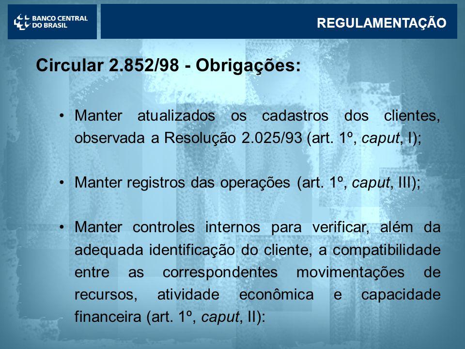 Lavagem de dinheiro Circular 2.852/98 - Obrigações: •Manter atualizados os cadastros dos clientes, observada a Resolução 2.025/93 (art.