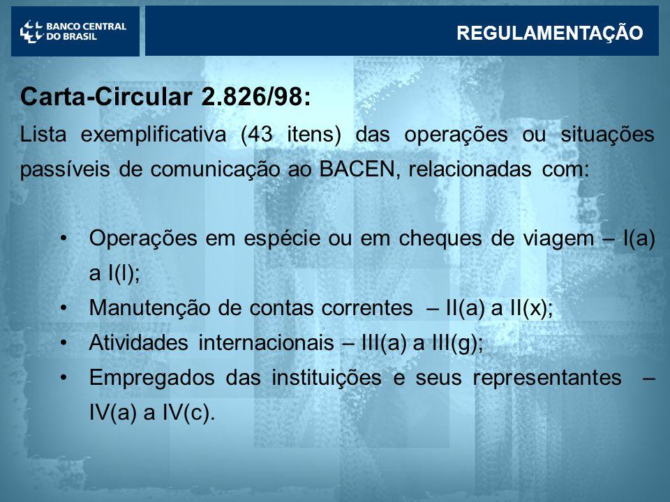 Lavagem de dinheiro Carta-Circular 2.826/98: Lista exemplificativa (43 itens) das operações ou situações passíveis de comunicação ao BACEN, relacionadas com: •Operações em espécie ou em cheques de viagem – I(a) a I(l); •Manutenção de contas correntes – II(a) a II(x); •Atividades internacionais – III(a) a III(g); •Empregados das instituições e seus representantes – IV(a) a IV(c).