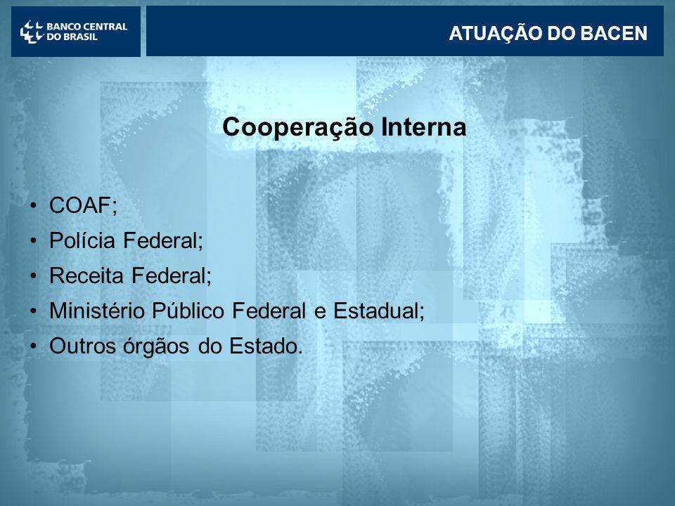 Lavagem de dinheiro Cooperação Interna •COAF; •Polícia Federal; •Receita Federal; •Ministério Público Federal e Estadual; •Outros órgãos do Estado.