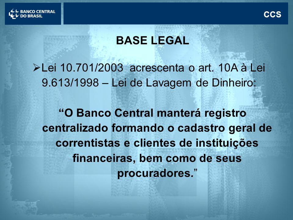 Lavagem de dinheiro CCS BASE LEGAL  Lei 10.701/2003 acrescenta o art.