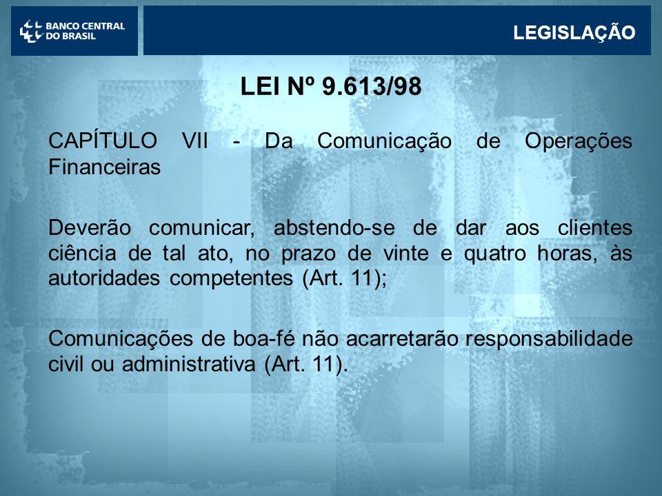 Lavagem de dinheiro LEI Nº 9.613/98 CAPÍTULO VII - Da Comunicação de Operações Financeiras Deverão comunicar, abstendo-se de dar aos clientes ciência de tal ato, no prazo de vinte e quatro horas, às autoridades competentes (Art.