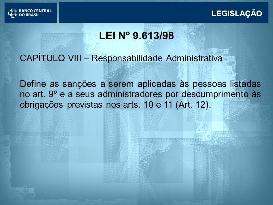Lavagem de dinheiro REGULAMENTAÇÃO Regulamentação da Lei 9.613/98 e seus reflexos nas atividades desenvolvidas no Banco Central: Regulamentação da Lei 9.613/98: •Circular BCB 2.852/98 - dispõe sobre as obrigações e procedimentos a serem observados pelas instituições sujeitas à regulamentação do Banco Central; •Carta-Circular BCB 2.826/98 - relaciona operações ou situações que podem configurar indício dos crimes previstos na Lei 9.613/98;