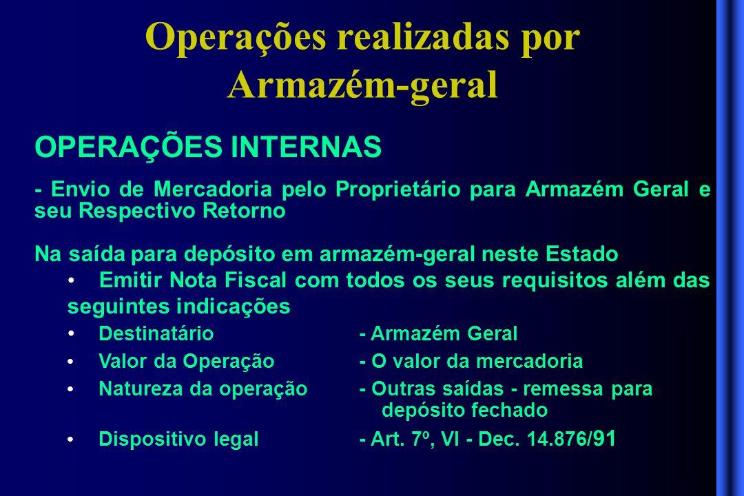 Operações realizadas por Armazém-geral OPERAÇÕES INTERNAS - Envio de Mercadoria pelo Proprietário para Armazém Geral e seu Respectivo Retorno Na saída
