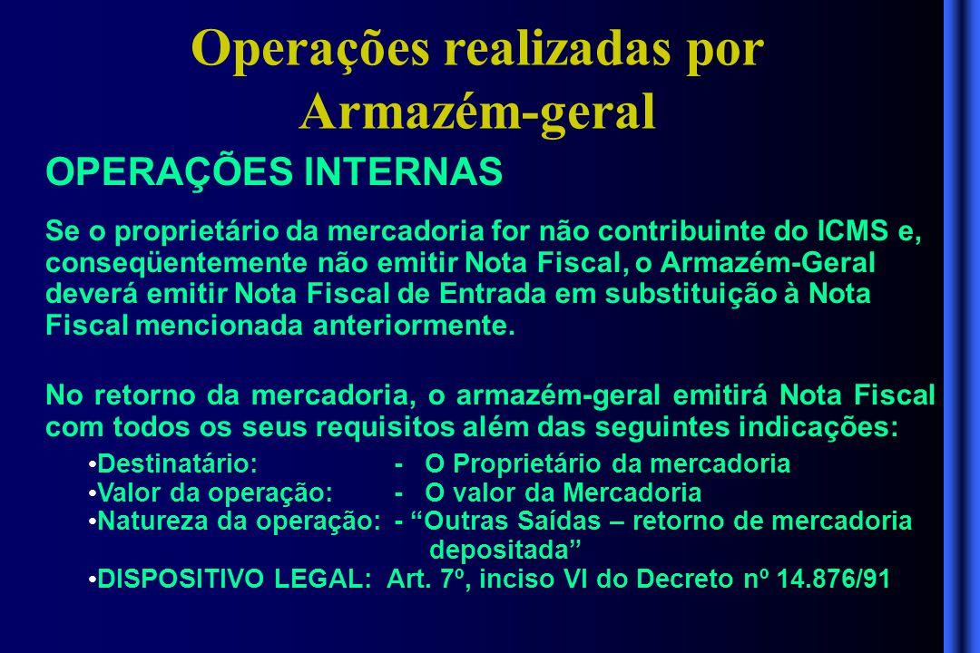 Operações realizadas por Armazém-geral OPERAÇÕES INTERNAS Se o proprietário da mercadoria for não contribuinte do ICMS e, conseqüentemente não emitir