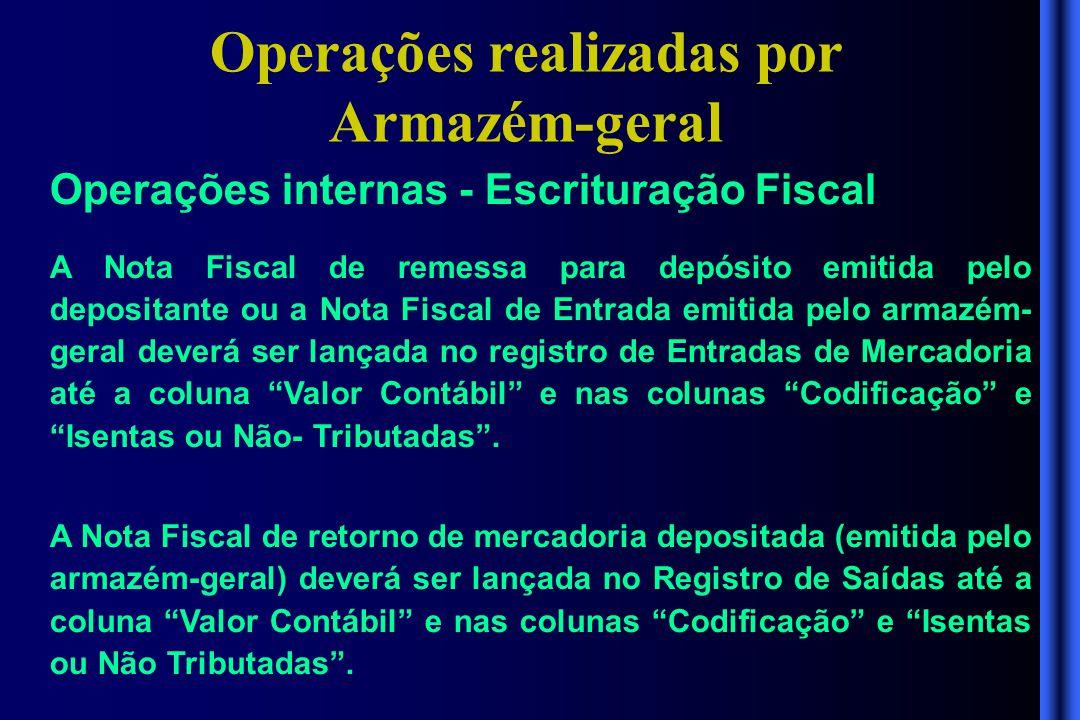 Operações realizadas por Armazém-geral Operações internas - Escrituração Fiscal A Nota Fiscal de remessa para depósito emitida pelo depositante ou a N